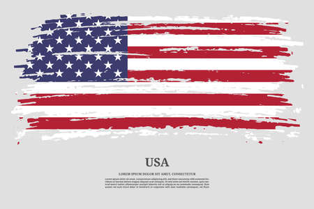 USA flag with brush stroke effect and information text poster, vector