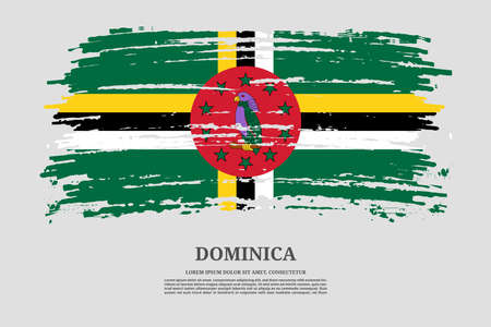 Dominica flag with brush stroke effect and information text poster, vector Ilustracja