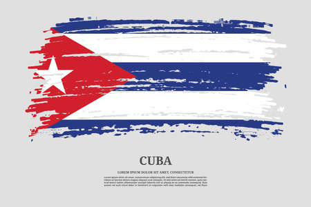 Cuba flag with brush stroke effect and information text poster, vector Ilustracja