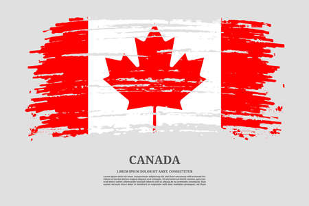 Canada flag with brush stroke effect and information text poster, vector Ilustracja