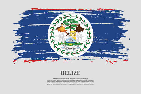 Belize flag with brush stroke effect and information text poster, vector