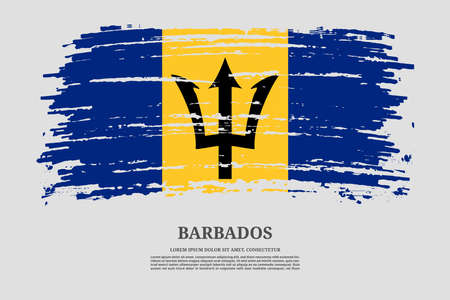 Barbados flag with brush stroke effect and information text poster, vector Ilustracja