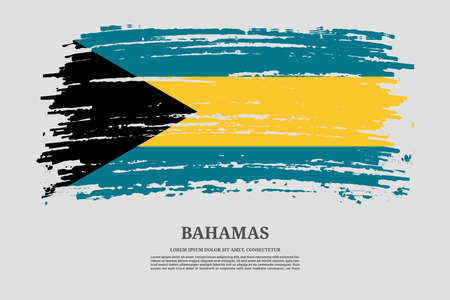 Bahamas flag with brush stroke effect and information text poster, vector