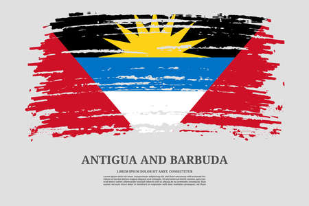Antigua and Barbuda flag with brush stroke effect and information text poster, vector