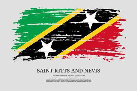 Saint Kitts and Nevis flag with brush stroke effect and information text poster, vector