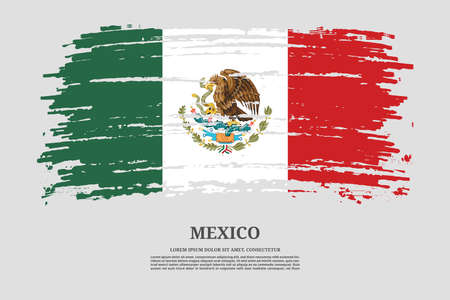 Mexico flag with brush stroke effect and information text poster, vector Ilustracja