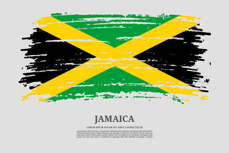Jamaica flag with brush stroke effect and information text poster, vector Ilustracja
