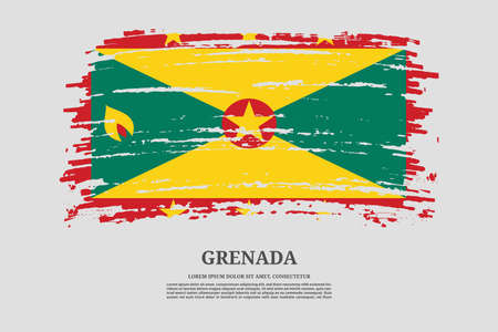 Grenada flag with brush stroke effect and information text poster, vector Ilustracja
