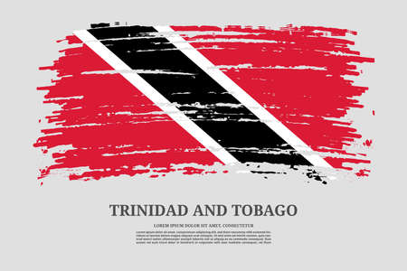 Trinidad and Tobago flag with brush stroke effect and information text poster, vector