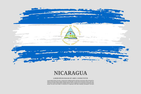 Nicaragua flag with brush stroke effect and information text poster, vector