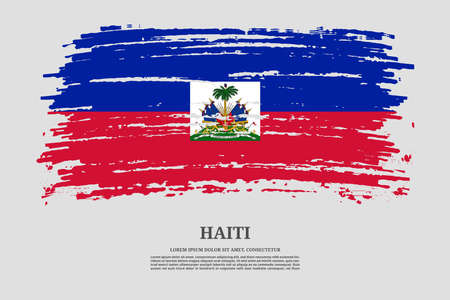 Haiti flag with brush stroke effect and information text poster, vector