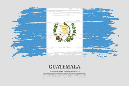 Guatemala flag with brush stroke effect and information text poster, vector