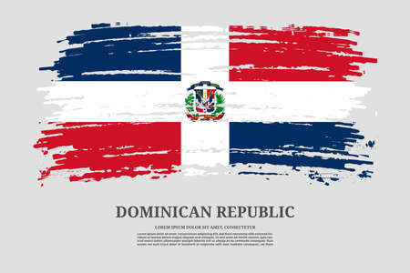 Dominican Republic flag with brush stroke effect and information text poster, vector Ilustracja