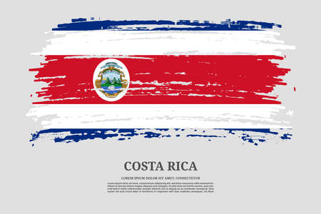 Costa Rica flag with brush stroke effect and information text poster, vector