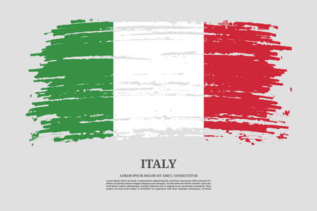 Italy flag with brush stroke effect and information text poster, vector Ilustracja