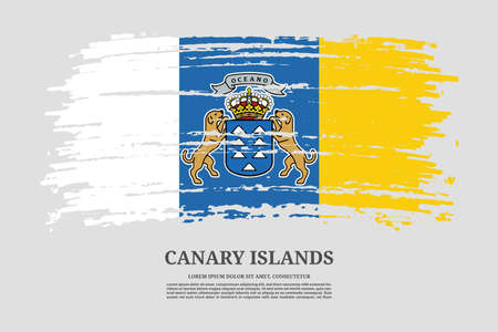Canary Islands flag with brush stroke effect and information text poster, vector