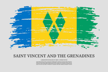 Saint Vincent and the Grenadines flag with brush stroke effect and information text poster, vector Ilustracja