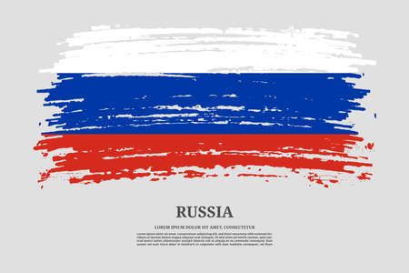 Russia flag with brush stroke effect and information text poster, vector