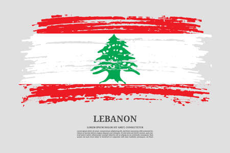 Lebanon flag with brush stroke effect and information text poster, vector