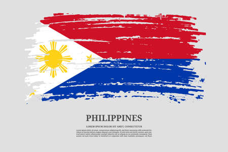 Philippines flag with brush stroke effect and information text poster, vector