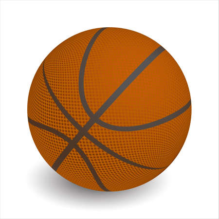 Basketball ball on white background casts shadow, vector Ilustracja