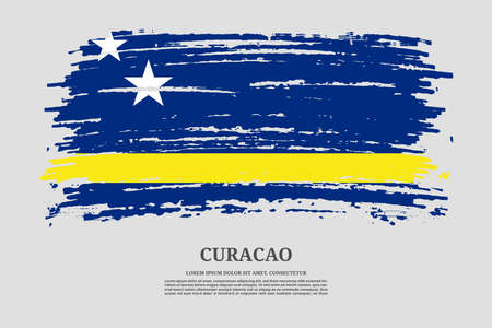 Curacao flag with brush stroke effect and information text poster, vector Ilustracja