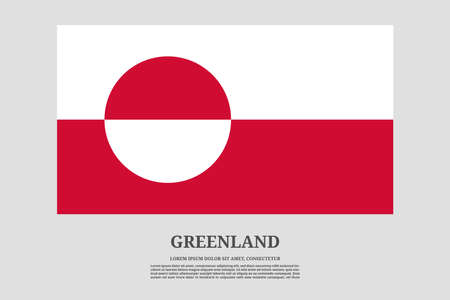 Greenland flag and information text poster, vector