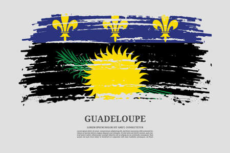 Guadeloupe black flag with brush stroke effect and information text poster, vector