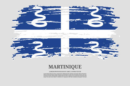 Martinique flag with brush stroke effect and information text poster, vector
