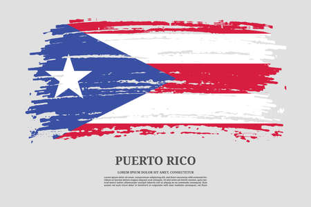 Puerto Rico flag with brush stroke effect and information text poster, vector