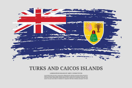 Turks and Caicos islands flag with brush stroke effect and information text poster, vector