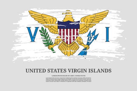 United States Virgin Islands flag with brush stroke effect and information text poster, vector Ilustracja