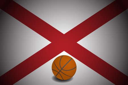 Alabama US flag with basketball ball, vector Ilustracja
