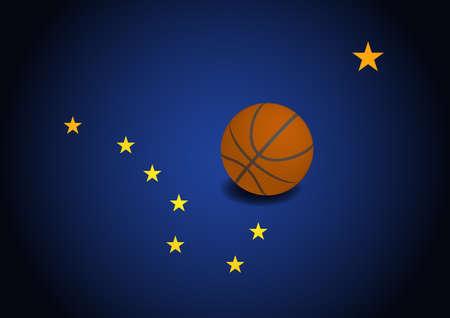 Alaska US flag with basketball ball, vector Ilustracja