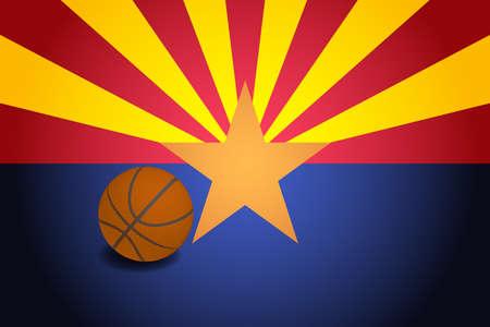 Arizona US flag with basketball ball, vector