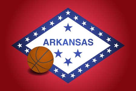 Arkansas US flag with basketball ball, vector