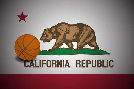 California US flag with basketball ball, vector