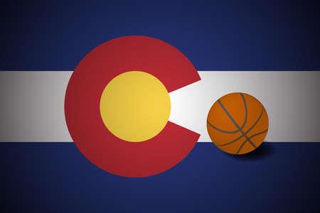 Colorado US flag with basketball ball, vector