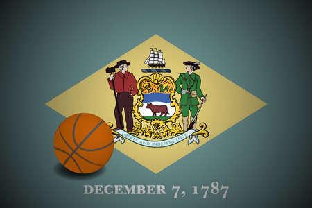 Delaware US flag with basketball ball, vector