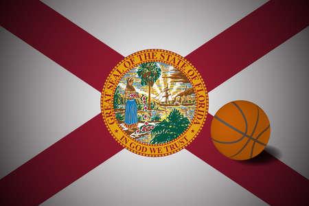 Florida US flag with basketball ball, vector