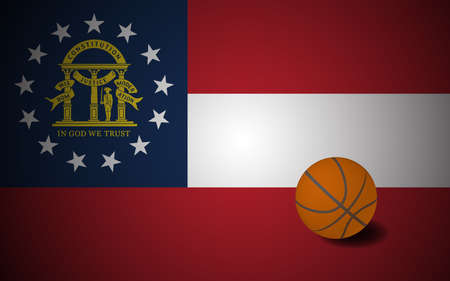 Georgia flag with realistic basketball ball, vector Ilustracja