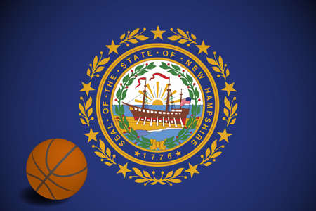 New Hampshire flag with realistic basketball ball, vector