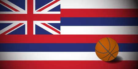 Hawaii flag with realistic basketball ball, vector