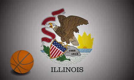Illinois flag with realistic basketball ball, vector Ilustracja