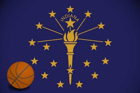 Indiana flag with realistic basketball ball, vector Ilustracja