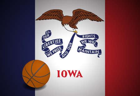 Iowa US flag with basketball ball, vector