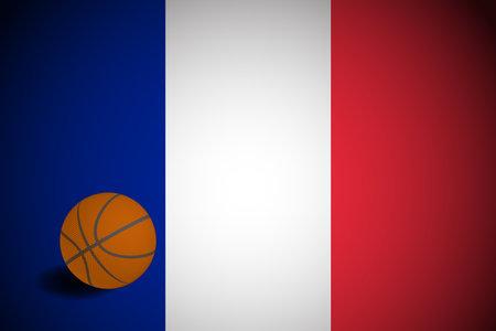 France flag with realistic basketball ball, vector