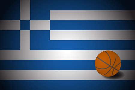 Greece flag with realistic basketball ball, vector