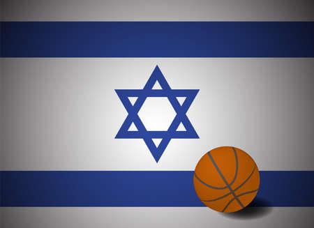 Israel flag with realistic basketball ball, vector