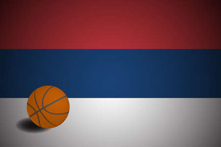 Serbia flag with realistic basketball ball, vector